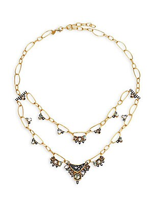 Elements Mosaic Chain Rose Crystal, Light Ochre Crystal, Clear Crystal & Black Mother-Of-Pearl Two-Tier Necklace