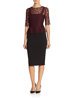 Lace Overlay Three-Quarter Sleeve Dress