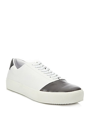 Round Toe Lace-Up Leather Sneakers