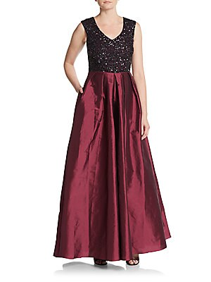 Sequined Satin Gown