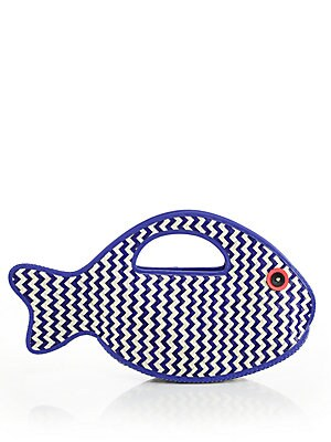 Splash Out Woven Straw & Leather Fish Clutch