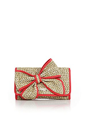 Belle Place Straw & Leather Bow Clutch