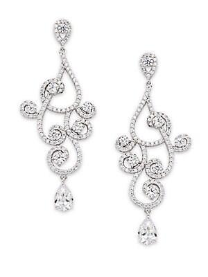 Fancy Swirl Crystal Drop Earrings