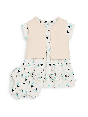 Baby's Geo-Print Dress, Vest & Bloomers Set