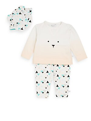 Baby's Graphic Tee, Geo-Print Leggings & Ear Cap Set