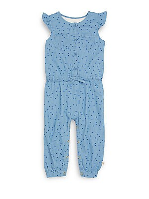 Baby's Polka Dot Cotton Chambray Romper