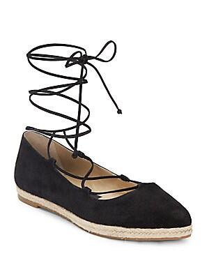 Cadence Suede Lace-Up Espadrille Flats