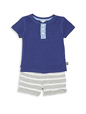 Baby's Two-Piece Henley Tee & Shorts Set