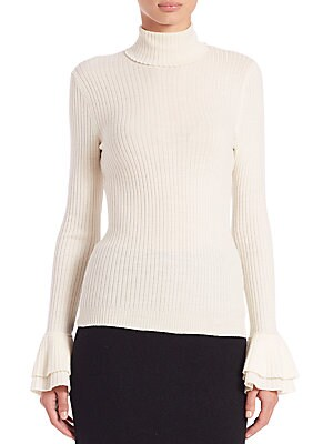 Ribbed Virgin Wool Turtleneck Sweater