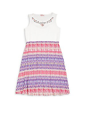 Girl's Embellished Printed Dress