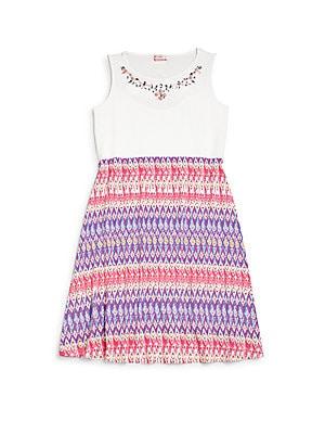 Girl's Embellished Printed Dress