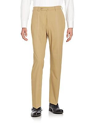 Straight Fit Cotton Gabardine Pants