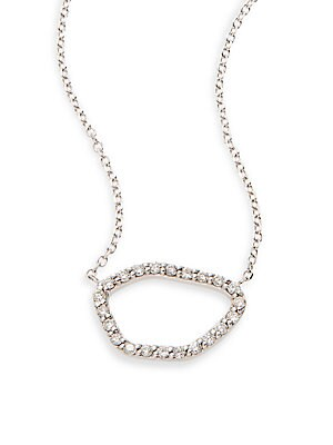 Click here for Diamond & 14K White Gold Free Form Pendant Necklac... prices