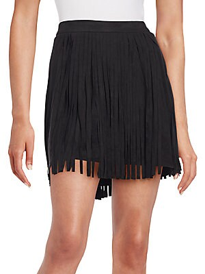 Sueded Fringe Mini Skirt