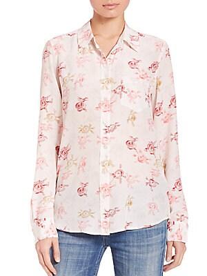 Brett Button Front Silk Shirt
