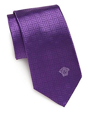 Line-Print Silk Tie