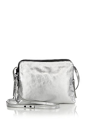 Double-Zip Metallic Leather Crossbody Bag