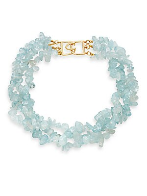 Blue Opal & 22K Yellow Gold-Plated Necklace