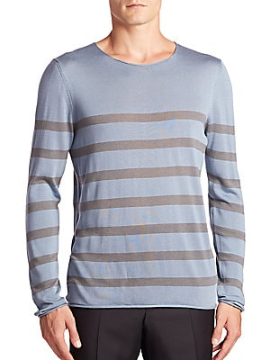 Striped Cotton, Silk & Cashmere Sweater