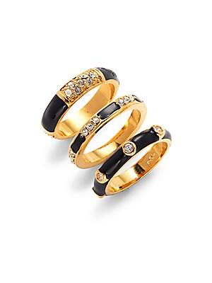 Crystal & Enamel Ring- Set of 3