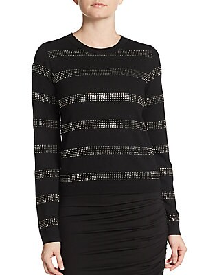 Karyn Rhinstone-Stripe Wool Sweater