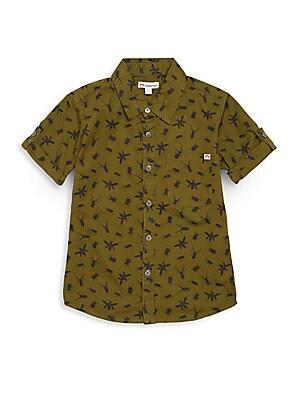 Toddler's, Little Boy's & Boy's Bug-Print Cotton Short Sleeve Shirt