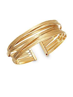 Basic Gold 18K Yellow Gold Crisscross Cuff Bracelet