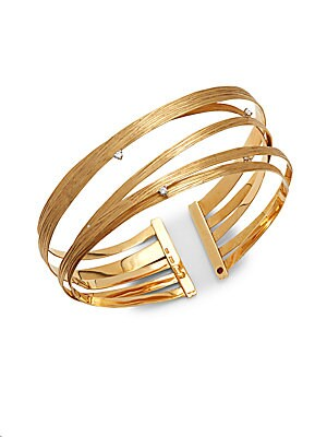 Basic Gold Diamond & 18K Yellow Gold Cuff Bracelet