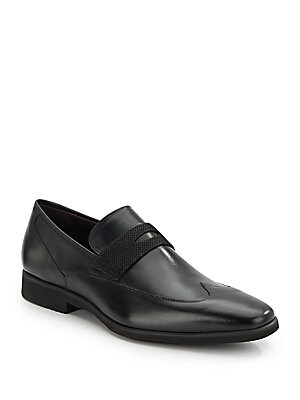 Suede-Trim Leather Loafers