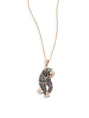 Click here for Diamond  Emerald & 14K Rose Gold Necklace prices