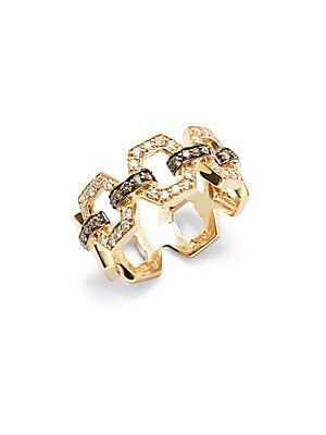 White and Brown Diamonds in 14KT Gold Hexagonal Ring