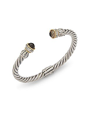 Diamonds, 18K Yellow Gold & Sterling Silver Cuff Bracelet