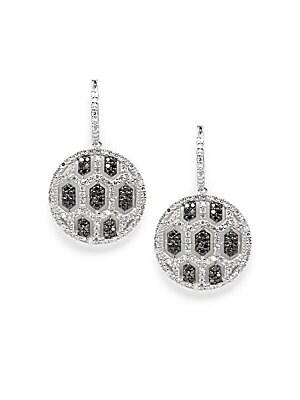 Black, White Diamonds & 14K White Gold Drop Earrings
