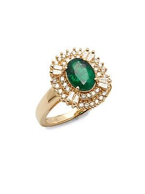 Diamonds, Emerald & 14K Yellow Gold Ring