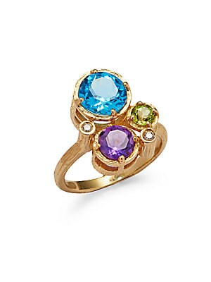 Diamond, 18K Yellow Gold & Sterling Silver Ring
