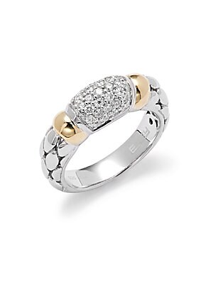 Click here for Diamond  18K Yellow Gold & Sterling Silver Ring prices