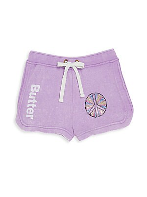 Girl's Rhinestone Peace Sign Shorts