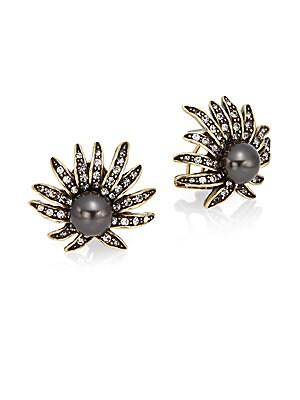 Faux Pearl & Crystal Starburst Earrings