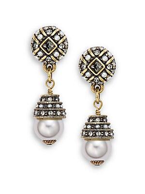 Staying In Line Faux Pearl & Crystal Drop Earrings