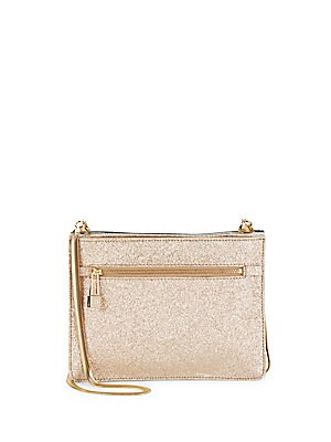 Tri-Tone Giltter-Coated Leather Convertable Clutch