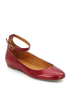 Embossed Leather Ankle Strap Flats