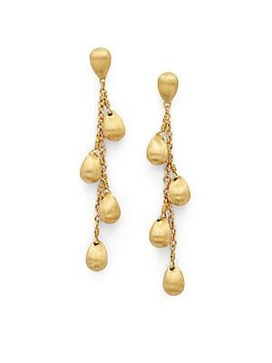 18K Gold Droplet Chain Earrings