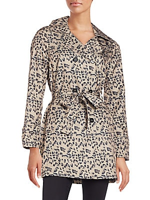 Leopard-Print Packable Rain Coat