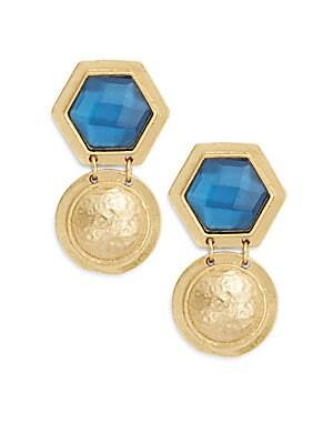 Core Hex Crystal & 24K Goldplate Earrings