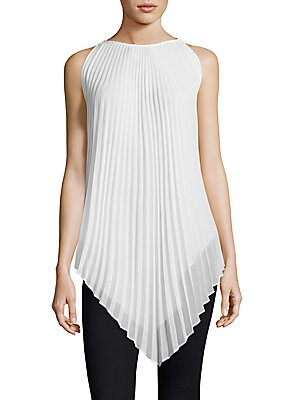 Solid Accordion Pleated Sleeveless Top