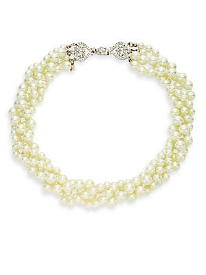 Three Strand Faux-Pearl Necklace