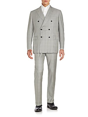 Regular-Fit Double-Breasted Glen Plaid Wool Suit