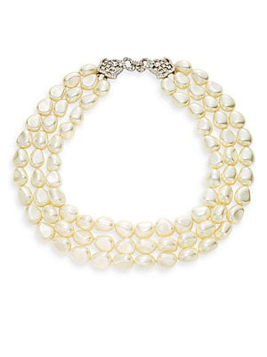 Three-Strand Faux Pearl Necklace
