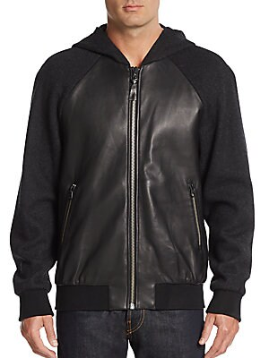 Leather Paneled-Knit Hoodie