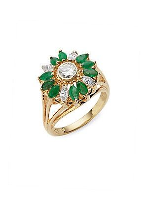 Click here for Cluster White Diamond  Emerald & 18K Yellow Gold R... prices